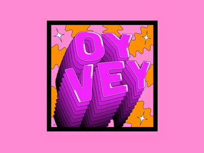 OY VEY purpletype funwithtype stackedtype boldcolours typographydesign womenoftype wavylines pinkandorange catchphrasedesign catchphrase oyvey colour colourful typography creative illustration adobeillustator
