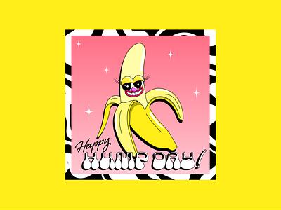 Happy Hump Day! cheeeoldskool funillustration womenofcreation womenofillustration womenindesign happyhumpday foodillustration fooddesign fruitillustration bananaillustration bananadesign banana pinkandyellow boldcolours colour colourful typography illustration creative adobeillustator