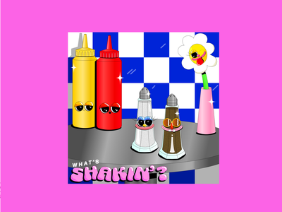 What's Shakin'? colourfuldesign blueandpink checkerboard boldcolours creativegals illustrateeveryday womenofillustration gradient saltandpepper diner tableillustration fooddesign foodillustration dinerillustration whatsshaking typography illustration creative adobeillustator