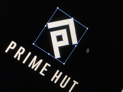 PrimeHut Logo Concept minimal app icon typography ux ui icon logo sales glass 3d message design black white logo box dot logo