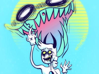 Sun Demons neon light sun demon illustration
