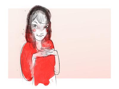 Vanessa Morcom Watercolour Sketch illustration sketch caricature childrens book portrait figurative client pencil watercolor cute red pink