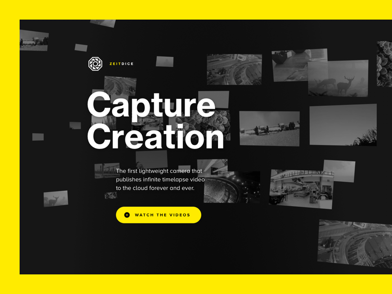 Zeitdice Product Site infinite time perception past future gallery minimal video black timelapse camera product
