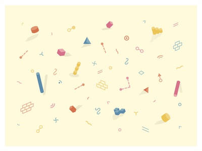Software Confetti fun cream float cartoon pattern wireframes database architecture rainbow icons 3d shapes