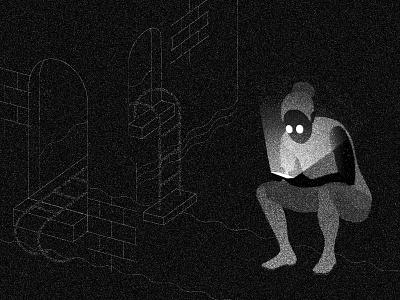 Dark Patterns drama lighting greyscale grain editorial technology figure pattern illustration