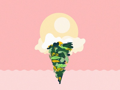 Summer Scoop jungle cone leaves warm summer cartoon clouds ice cream nature drawing illustration plants
