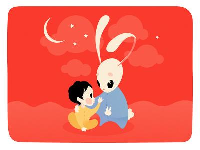 Theo & Bun Bun kidsbook stars children summer toy cartoon rabbit dream sleep baby illustration bunny