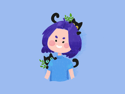 The cats and I flat cute illustration cat