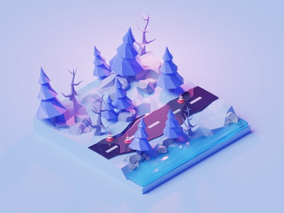 Winter road lowpoly illustration abstract render 3d