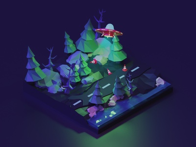 Surprise in the dark lowpoly illustration render 3d
