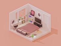 Bedroom lowpoly blender 3d blender isometric art isometric cute illustration render 3d