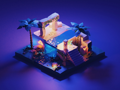 Temple art cute abstract illustration render 3d