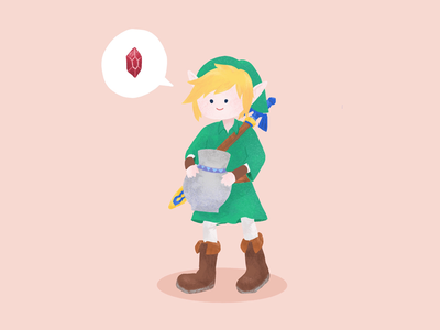 Link and his hobby of breaking shit game zelda link ui flat cute art illustration