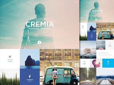 Cremia Portfolio lightbox svg retina responsive custom smooth animation javascript css html