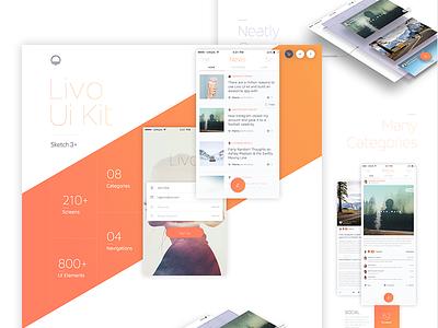 Landing ui kit livo photoshop sketch website market me ux app
