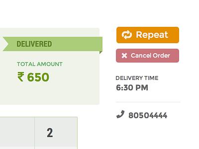 Order Status delivery order status app rupee repeat cancel flat