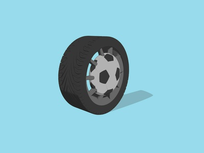 Football Rim 3d tyre rim football soccer icon flat car film