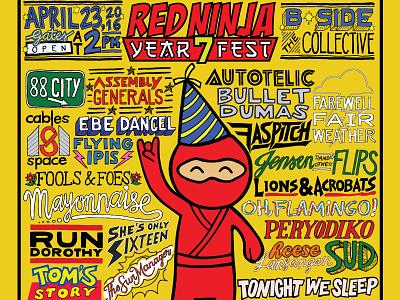 Red Ninja Year 7 Fest Poster poster poster design first shot lettering artist hand lettering lettering