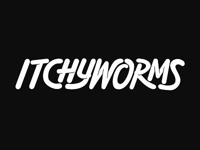Itchyworms Logotype logo design custom type hand drawn type custom typography vector logotype logo lettering handlettering