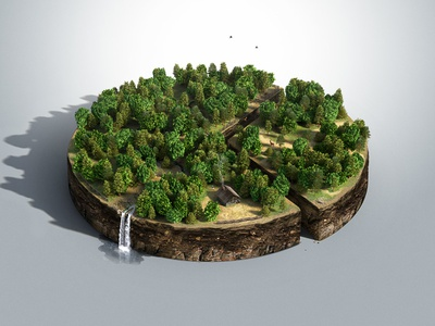 PennState AgScience Magazine Cover 3D Infographic aerial view ecology plot graph diagram nature infographics cgi pines forest forestry pie chart
