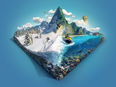 Diverse Vacation Tours - CGI Key Visual Illustration trip ocean cut-away coral cgi snowboard island travel snow diving tropic underwater