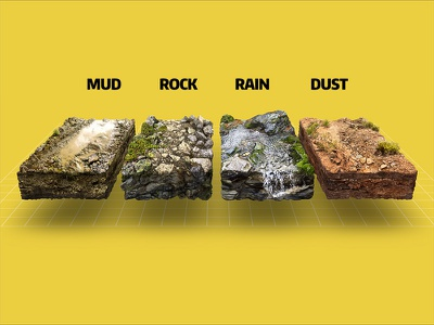 Running conditions 3D infographic for an ad of running shoes ground isometric jogging running desert stream puddle rock dirt mud dust soil
