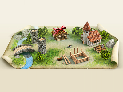 Little Town 3d Icon Illustration 3d town make of illustration icon water rock bathhouse river tower bridge well grass collage tree church rural eye birds compositing aerial view game map