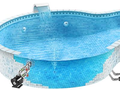 Pool 3d pool water 3d cut chrome liquid bottom caustic tile waterfall isolated cutaway