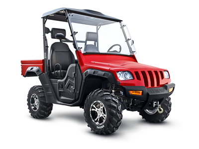 Retouch of a bad photo retouch extreme red after car cfmoto before atv isolated