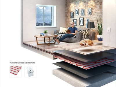 Underfloor Heating 3D Infographic cutaway home house cut-away room layers interior exploded view infographic creative 3d floor
