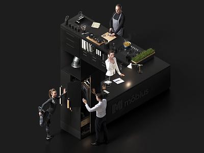 Impossible interior - 3D key visual people cgi creative key visual dark render 3d impossible isometric interior