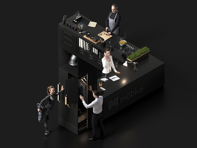 Impossible interior - 3D key visual people cgi creative key visual dark render 3d impossible isometric interior