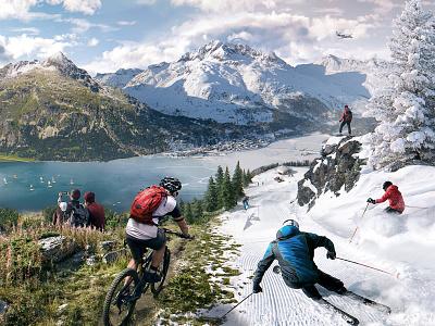 Summer & winter sports in the Alps — Mixed Seasons Illustration nature hiking activity snow snowboarding skiing mountain biking ski mountains sport winter summer