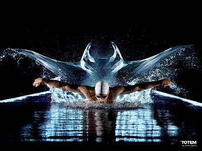 Totem - 4 sports swim night black pool swimming manta ray ghost spirit animal mascot