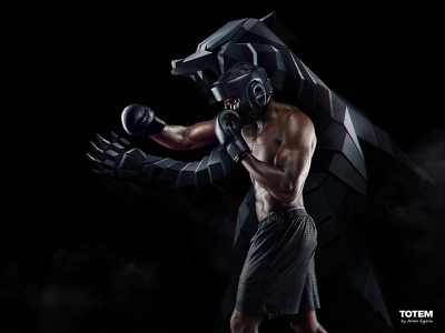 Totem - 5 boxer angry grizzly bear fighter box black sports animal