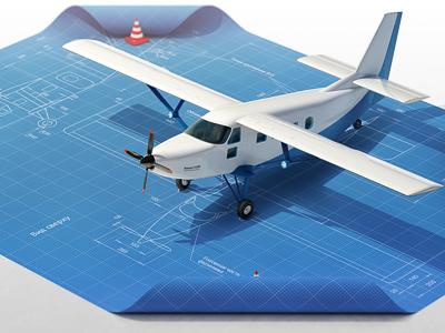 Plane blueprint Illustration 3d visualization infographic illustration 3d plane blueprint visualization infographics infographic aircraft