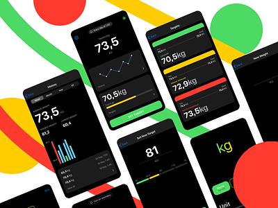 Control Your Weight App dark mode dark theme dark simple app design ux ui ios product design design app