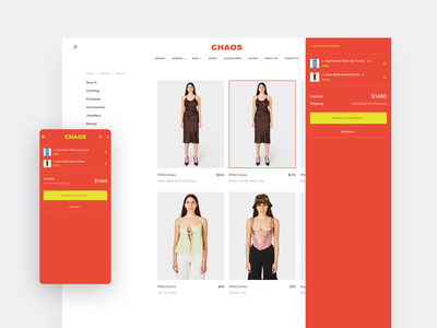 Chaos Concept Store - Adaptive Cart View brand clothes simple colors product adaptive illustration design ux logo branding ui