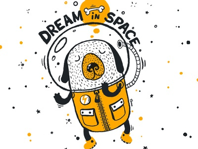 Dream in space in astro suit bone illustration 13mu astronaut dog space dream suit