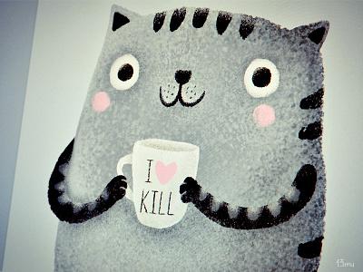 I♥kill cat coffee killer cup smile stripy 13mu illustration