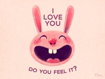 Bunny with love love rabbit smile ears