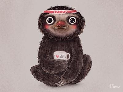 I♥yoga yoga bradypus love sport cup smile 13mu sloth lazybones