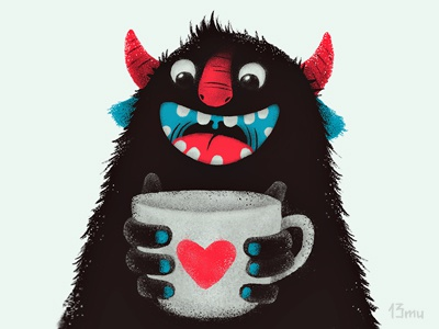 Demon with cup demon coffee cup 13mu art heart love monster diablo