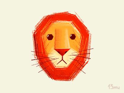 Sad lion lion sad yellow orange stroke mustache 13mu illustration