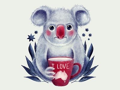 I♥Australia koala australia animal animals illustration 13mu cup tee coffee eucalypt