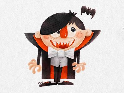 Dracula dracula bat count bowtie vampire kid prankster smile 13mu illustration cloak