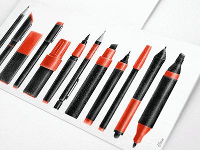 Paint & writing tools tools 13mu illustration pencil marker pen
