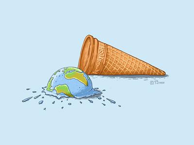 ApocalypSHIT! 2012  apocalypse ice-cream illustration waffle ball earth t-shirt print