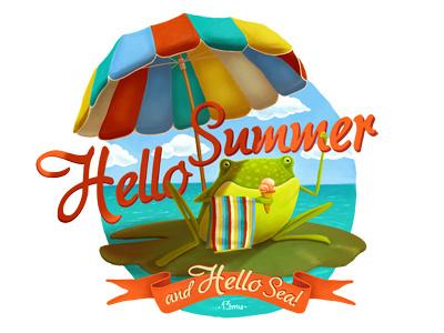 Hello Summer & Hello Sea! mood sky clouds illustration 13mu fun water lily towel ice frog sea summer
