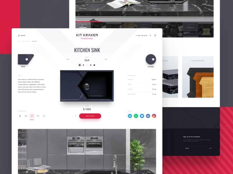 Product card for the store. gallery store shop sink 3d furniture kitchen simple design website minimal ux ui